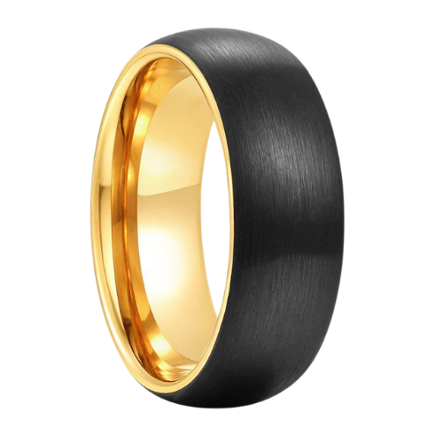 Black Ring for Men with Gold Rims and Inside