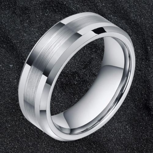 Classic SIlver Tungsten Ring for Men