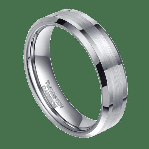 mens tungsten ring silver