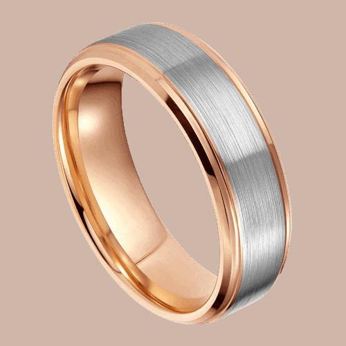 Elegant ring for men - brushed silver and rose gold edges