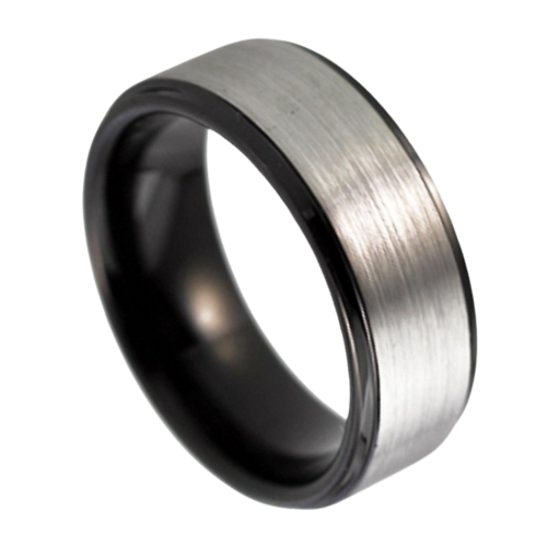 Men's Tungsten Ring - Brushed Silver with Black Rims and Inside