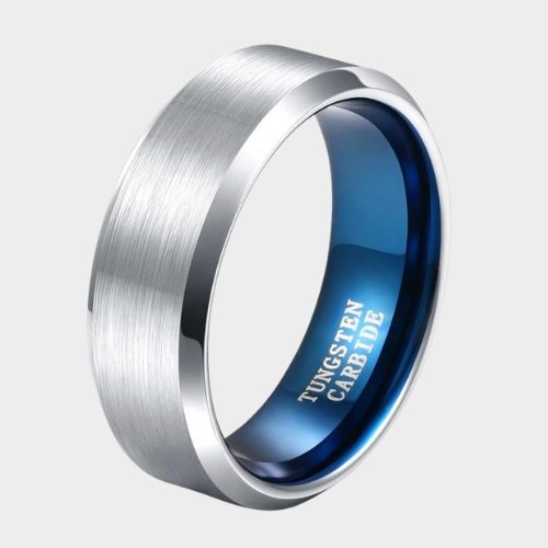 Brushed and Polished Silver Tungsten Ring for Men