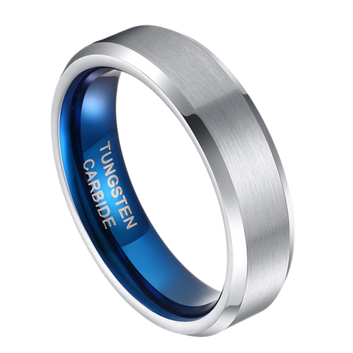 Mens Silver Ring with Blue Inside