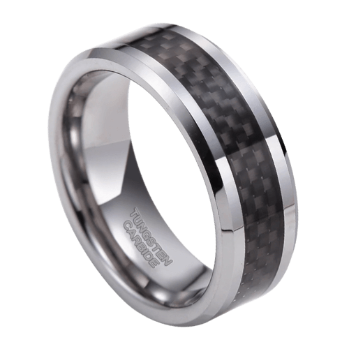 Silver Tungsten Men's Ring with Carbon Fibre Inlay