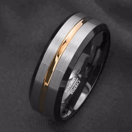 Black, Silver, and Gold Ring for Men