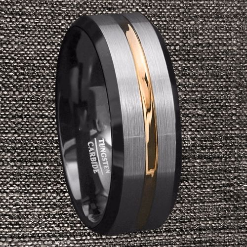 Three Tone Ring Design for Men - Black, Brushed Silver, Gold.