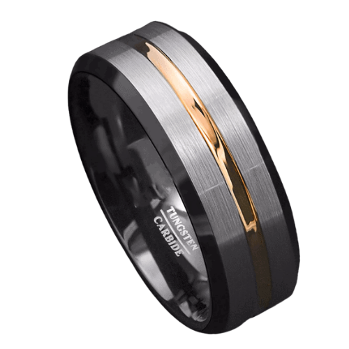 Brushed Silver, Black, and Gold Ring for Men