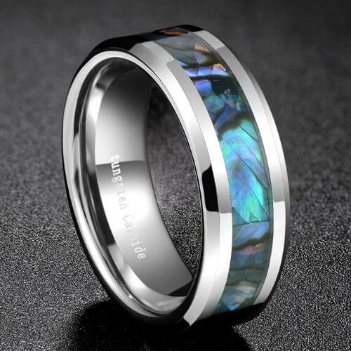 Men's ring featuring an inlay of abalone shell