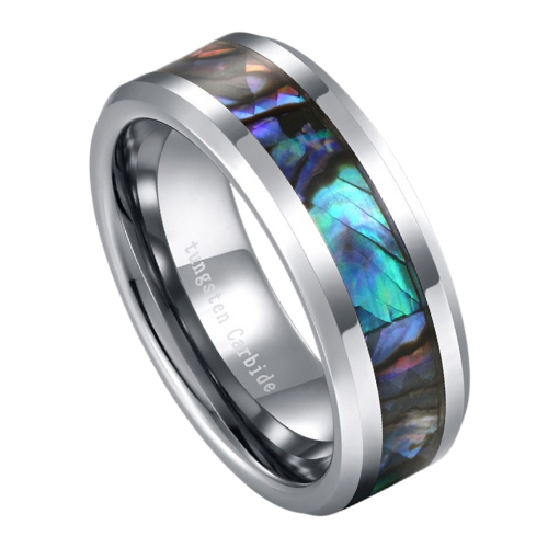 Men's Silver Ring with Abalone Shell Inlay