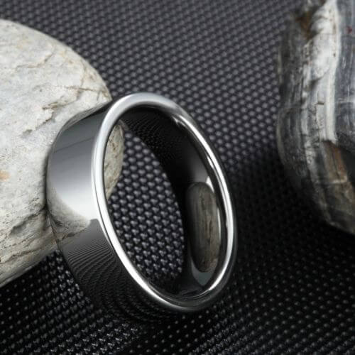 Polished Silver Tungsten Carbide Ring for Men