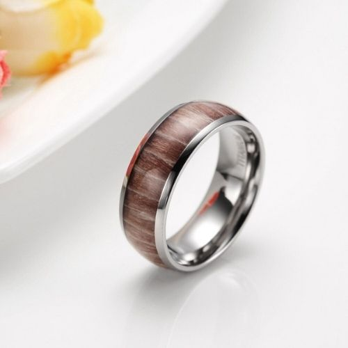 Mens ring featuring natural wood set within silver titanium