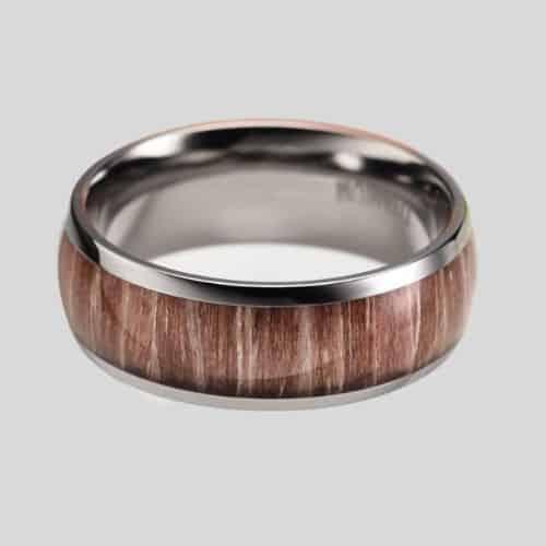 Titanium and Wood Ring for Men
