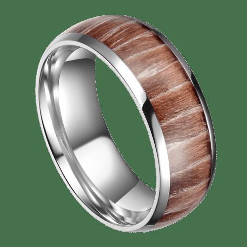 Men's Titanium Ring with Natural Wood
