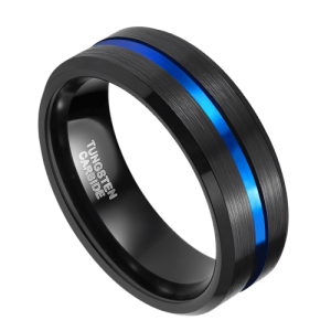 Men's Black Tungsten Ring with Groove of Vivid Blue