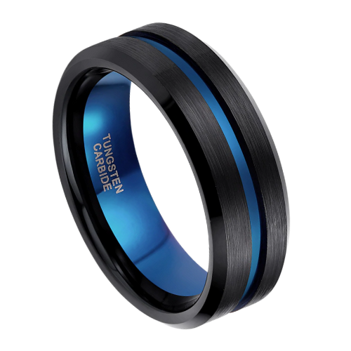 Men's Ring - Brushed Black Ring with Groove of Vibrant Blue