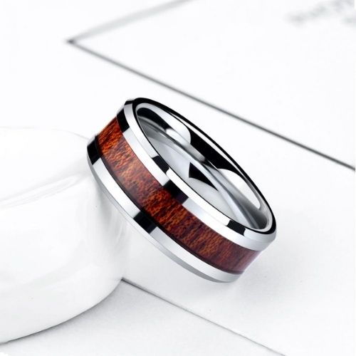 Gleaming Silver Tungsten Ring for Men with Gorgeous Inlay of Natural Wood