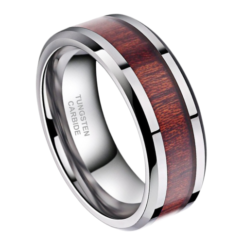 Men's Ring - Gleaming silver tungsten with natural wood inlay