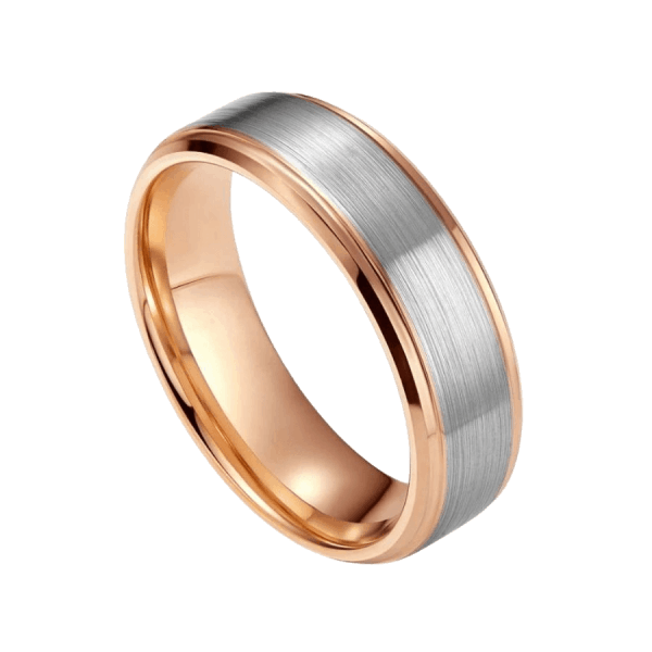 Rose Gold Ring for Men with Brushed Silver Centre