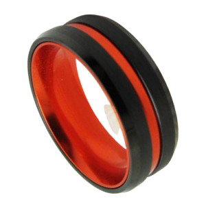 Black Ring with Vivid Orange Groove and Orange Inside