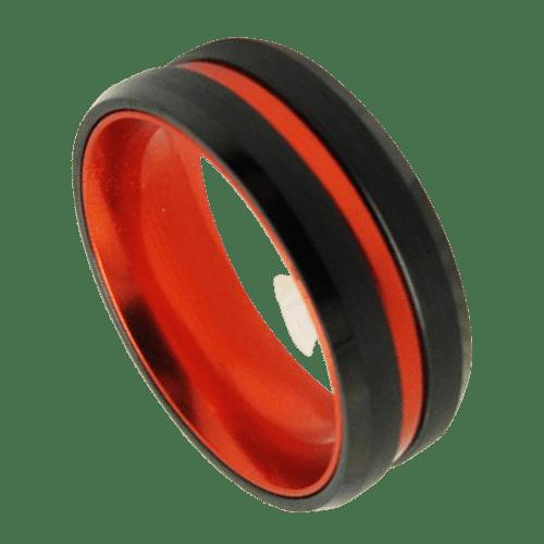 Black Ring with Vivid Orange Groove and Orange Inside