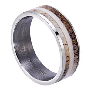 Silver Tungsten Men's Ring with Two Tones of Naturally Shed Deer Antler