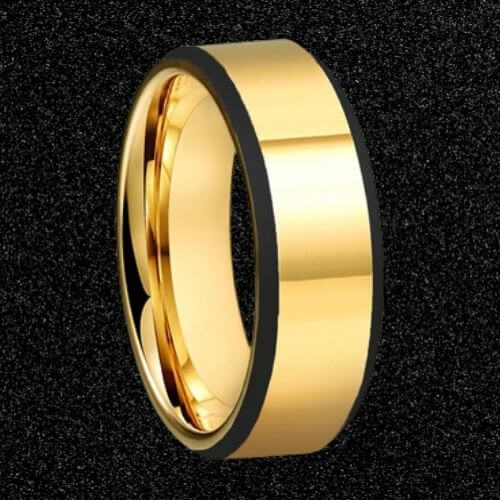 Man's Gold Tungsten Ring with Black Edges