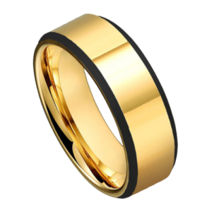 Polished Gold Ring For Men with Black Edges