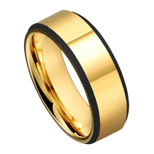 Polished Gold Ring For Men with Black Edges