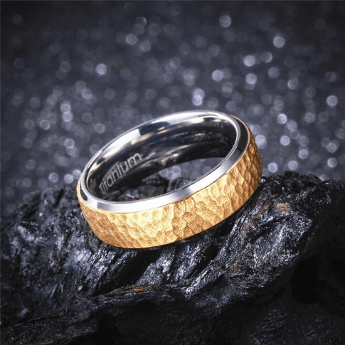 Titanium Ring for Men - Gold Hammered Surface with Polished Silver Rims