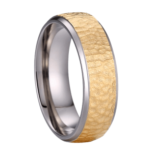 Rose Gold Hammered Titanium Ring for Men