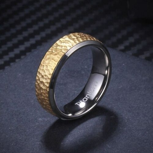 Gold Titanium Ring for Men with a Hammered Finish