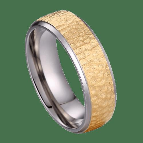 Gold titanium mens ring