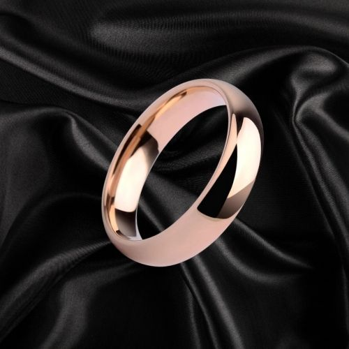 Rose Gold Tungsten Ring, dome shaped