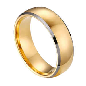 Gold ring with silver edges for men