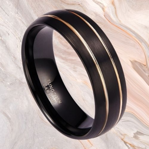Tungsten Carbide Ring for Men - Black and Gold