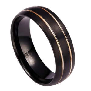 Black Ring for Men with Double Groove of Gold
