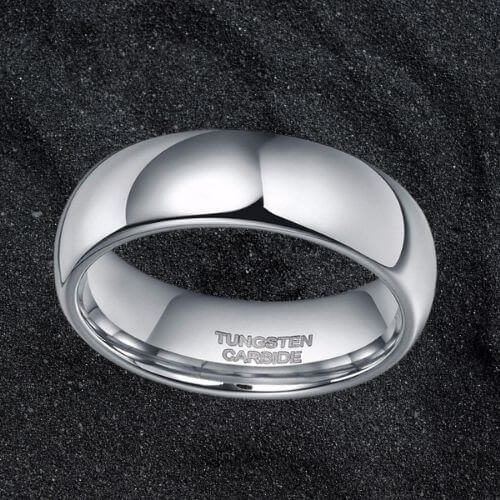 Silver Tungsten Ring for Men - Polished and Dome Shaped