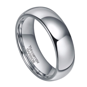 Dome Shaped Silver Tungsten Ring for Men