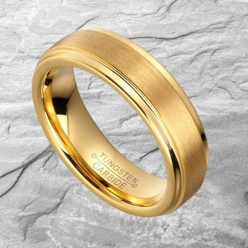 Brushed Gold and Polished Gold Ring for Men - Tungsten Carbide