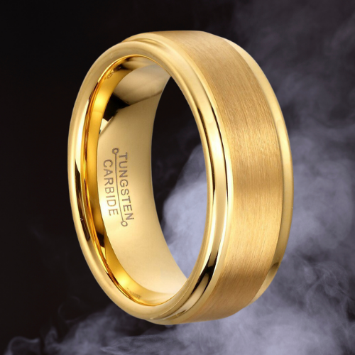 Brushed and Polished Gold Tungsten Ring for Men