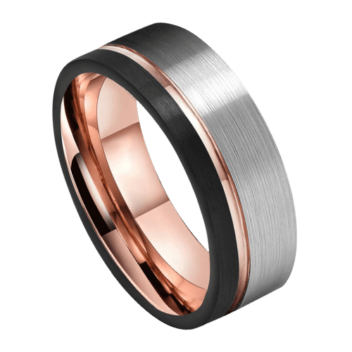 Men's Tungsten Ring with Brushed Silver, Polished Rose Gold and Matte Black