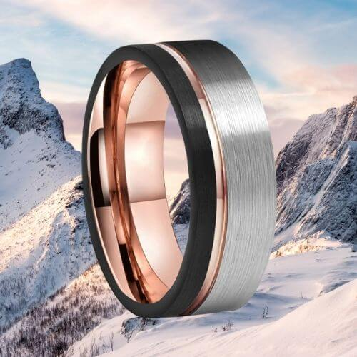 Brushed Silver, Black, and Rose Gold Tungsten Men's Ring