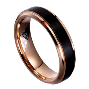Matte Black and Polished Rose Gold Ring for Men