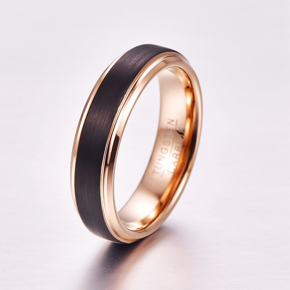Rose Gold and Black Ring for Men - Tungsten