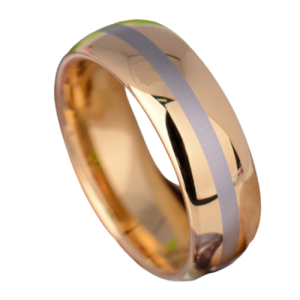 A gold ring with a silver stripe.