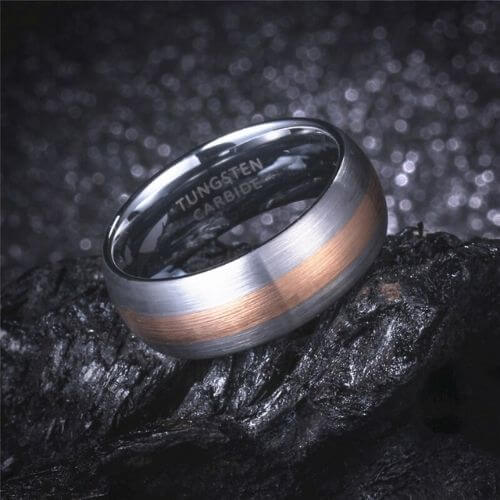 Matte Brushed Silver and Rose Gold Ring for Men - Tungsten