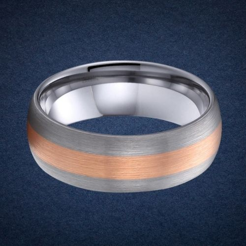 Tungsten Carbide Ring for Men - Matte Silver and Rose Gold
