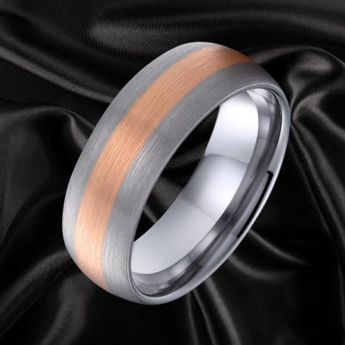 Soft silver and rose gold ring for men