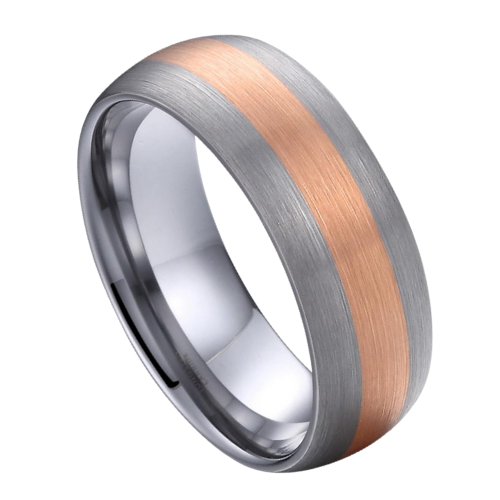 Matte Silver and Rose Gold Ring for Men - Tungsten