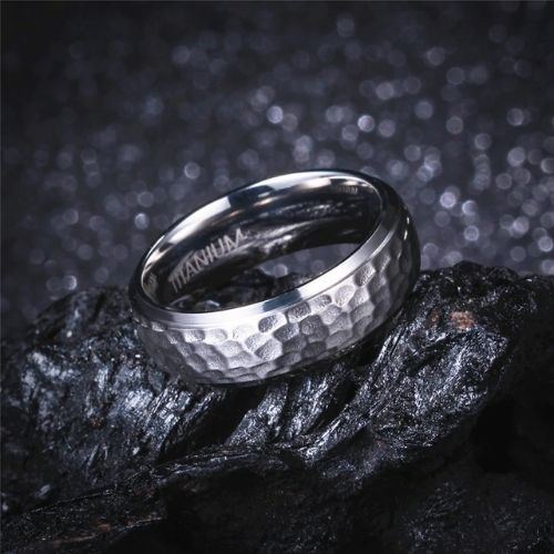 Hammered Titanium Silver Ring for Men